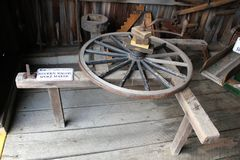 Wooden Wagon Spoke Maker in the Amish Blacksmith Shop