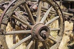Wooden wagon wheel axle weathered Royalty Free Stock Photo