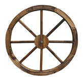 Wooden wagon wheel isolated on white background Stock Image
