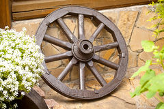 Wooden wagon wheel Stock Photos