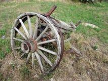 Wooden wagon wheel at Tompkins Saskatchewan. A Wooden wagon wheel at Tompkins Saskatchewan Royalty Free Stock Photography