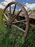 Wooden Wagon Wheel. A wood wagon wheel with spoke and a hub  are part of an old wagon left in the long grass Royalty Free Stock Photography