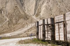 Wooden wagons in a quarry Royalty Free Stock Photos