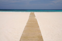 Wooden walk on the beach, Fuerteventura Royalty Free Stock Image