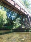 Wooden walk bridge stock photo