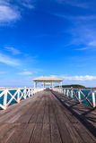 Wooden walk bridge to the sea in Thailand Royalty Free Stock Photo