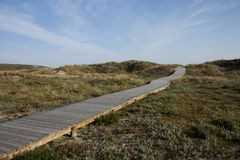 Wooden walk in Spanish beach. Walk in dune, with wood structures to save the dune vegetation Stock Images