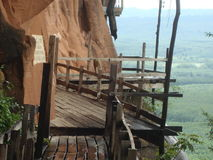 Wooden walk way along the cliff Royalty Free Stock Image