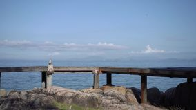 The wooden walk way bridge in the section angle with the sea and sky background., Thailand stock video
