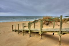 Wooden walk way over sand dune Stock Photo