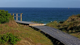 Wooden walking path  on the island of Sylt. Royalty Free Stock Photography