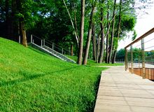Wooden walking path with in well groomed green city park royalty free stock photography