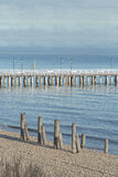 Wooden walking sea Gdynia Orlowo Pier with old foundation piles on coast in Poland Royalty Free Stock Photography