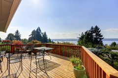 Wooden walkout deck with lake view Stock Image