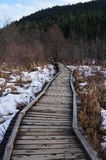 Wooden Walkway. Over frozen pond and snow covered countryside in beautiful mountain location Stock Image