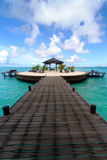 Wooden walkway. At Kapalai island in the middle of the ocean Royalty Free Stock Image
