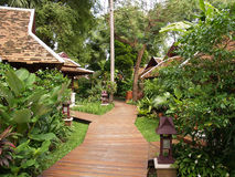Wooden walkway. And bungalows in Thailand royalty free stock photo