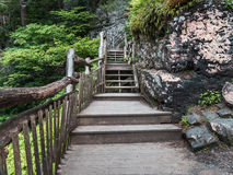 Wooden walkway approaching Bushkill Falls waterfall in the Poconos in Pennsylvania. Outdoor nature scene of a wooden walkway next to a steep rocky wall covered Stock Image