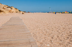 Wooden walkway on beach Royalty Free Stock Photos