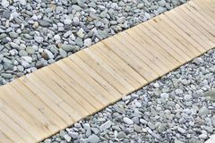 Wooden walkway. On the beach Stock Photography