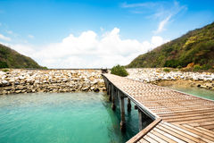 Wooden walkway at beach Royalty Free Stock Photography