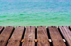Wooden walkway on the beach sea Royalty Free Stock Image