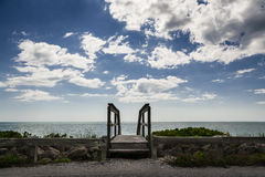 Wooden Walkway, Beach & Sky Stock Photography