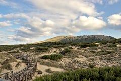 Wooden walkway with beautiful sky, sand dunes and hills, cala mesquida, mallorca, spain stock photo