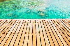 Wooden walkway bridge at coast Royalty Free Stock Images