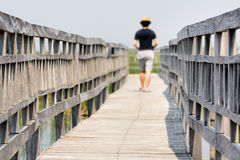 Wooden walkway bridge Royalty Free Stock Image