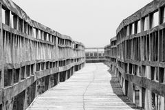 Wooden walkway bridge Stock Images