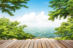 Wooden walkway at coast Stock Images