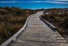 Wooden walkway on coastline with blue sky stock images