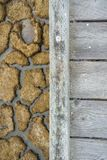 Wooden walkway and dried mud in the background, Alviso marsh, south San Francisco bay, California stock photo