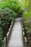 Wooden walkway through a garden Royalty Free Stock Image