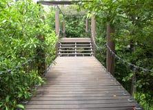 Wooden walkway in the garden Stock Photo