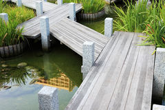 Wooden walkway in japanese garden. Stock Photo