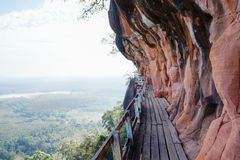 Wooden walkway on a mountain in Thailand Royalty Free Stock Photo