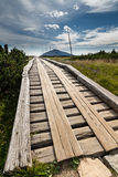 Wooden walkway in the national park Krkonose, Czech Republic Royalty Free Stock Image