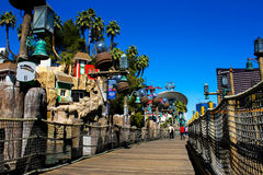 Wooden walkway outside Treasure Island Casino in Las Vegas, NV. Stock Image