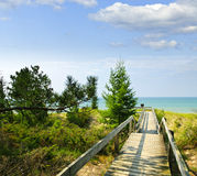 Wooden walkway over dunes at beach Royalty Free Stock Photo