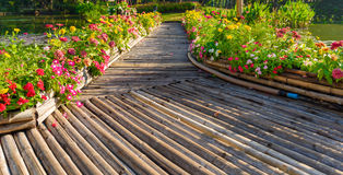 Wooden walkway in park Royalty Free Stock Image