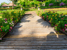 Wooden walkway in park Royalty Free Stock Photography
