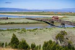 Wooden Walkway and Picnic Shelter,. Don Edwards wildlife refuge, Fremont, San Francisco bay area, California Royalty Free Stock Photo