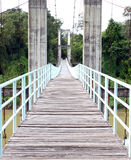 Wooden walkway of the rope bridge Royalty Free Stock Photography