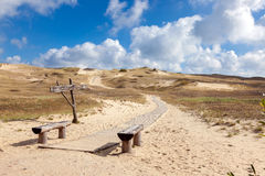 Wooden walkway on the sand dunes, Curonian Spit, Lithuania Royalty Free Stock Photography