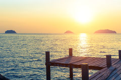 Wooden walkway on the sea coast during sunset. Nature. Royalty Free Stock Photos