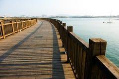 Wooden walkway on seaside Royalty Free Stock Photos
