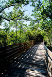 WOODEN WALKWAY TO AN ARCHED UNKNOWN Stock Photography