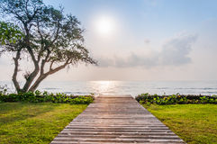Wooden walkway to the beah Royalty Free Stock Photography